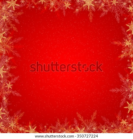 Red holiday christmas background with white, yellow and red snowflakes - stock photo