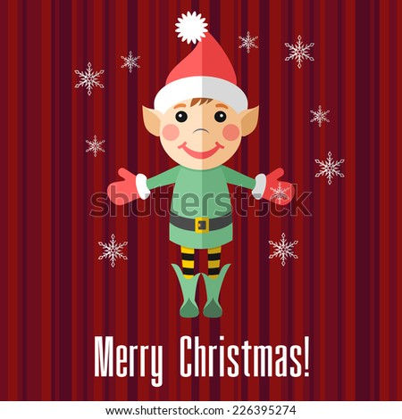 Red holiday Christmas card with elf and snowflakes - stock photo