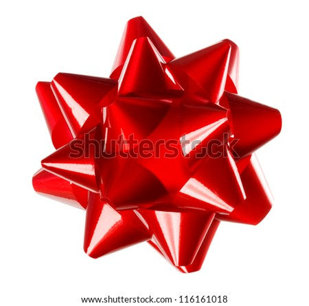 Red holiday gift bow on white background - stock photo