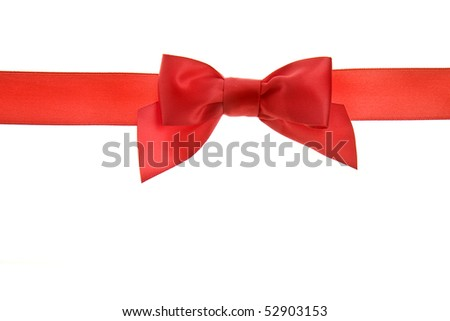 red holiday ribbon  bow isolated on white background - stock photo