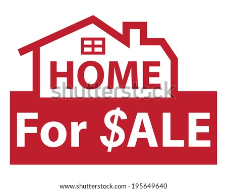 Red Home for $ale Icon, Sign or Label Isolated on White Background  - stock photo