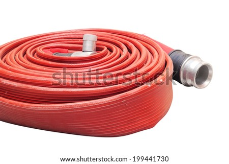 Red hose fire shabby and through use on white background - stock photo