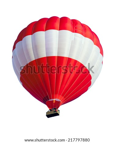 Red Hot Air Balloon isolated on White - stock photo