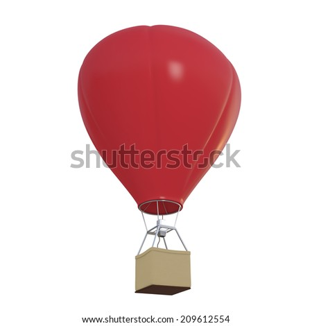 Red hot air balloon isolated on white - illustration - stock photo