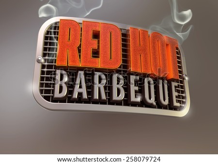 Red Hot Barbeque sign on smoking retro metal grill - stock photo
