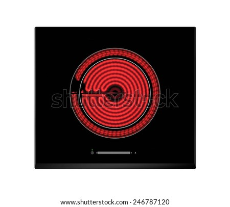 Red hot ceramic hotplate of electric cooker - stock photo