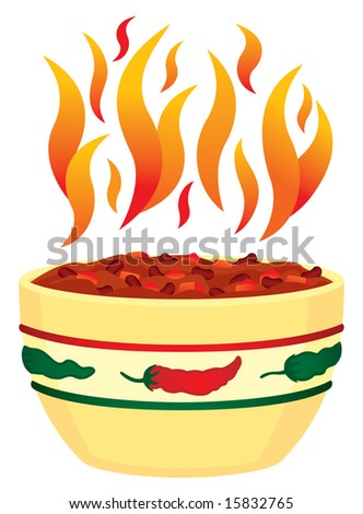 Red hot chili bowl with flames illustration - stock photo