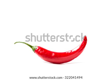 Red hot chili pepper cayenne, paprika. Fresh spice vegetable isolated on white background. Healthy ripe spicy burning organic ingredient.  - stock photo