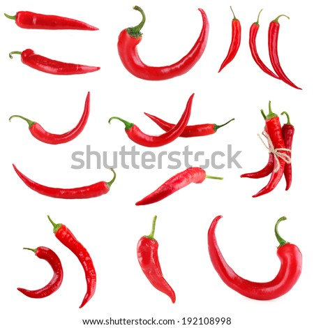 Red hot chili pepper collage - stock photo