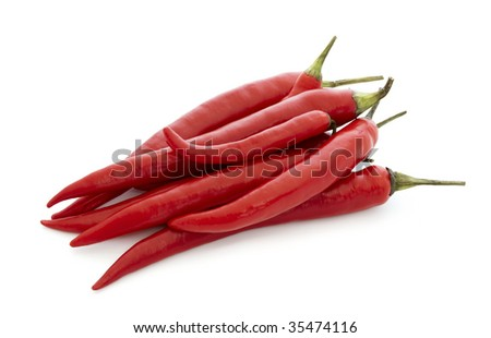 red hot chili pepper,isolated on a white background