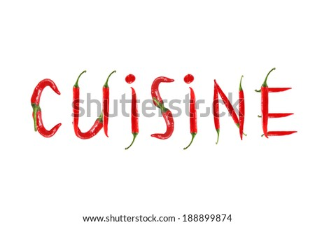 Red hot chili pepper isolated, word cuisine - stock photo