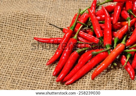red hot chili pepper on the jute gunny bag - stock photo