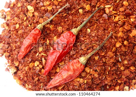 Red hot chili pepper with dried chilies - stock photo
