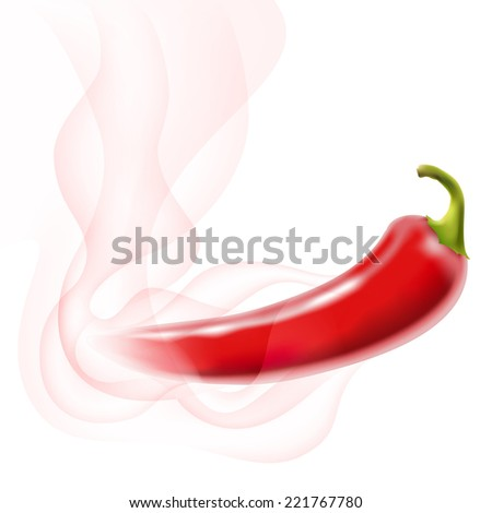 red hot chili pepper with smoke on white - stock photo