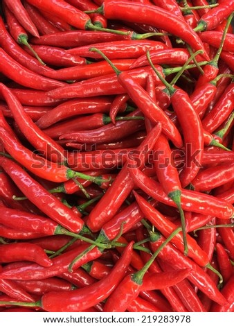 red hot chill peppers at marketplace - stock photo
