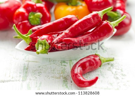 Red hot chilli peppers - stock photo