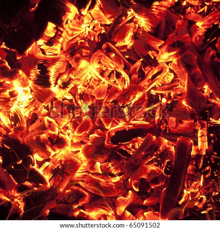 red-hot coals - stock photo