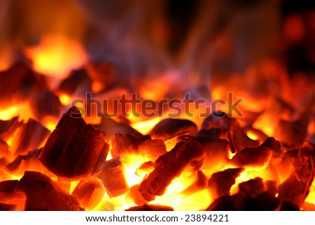 Red-hot coals in an oven - stock photo