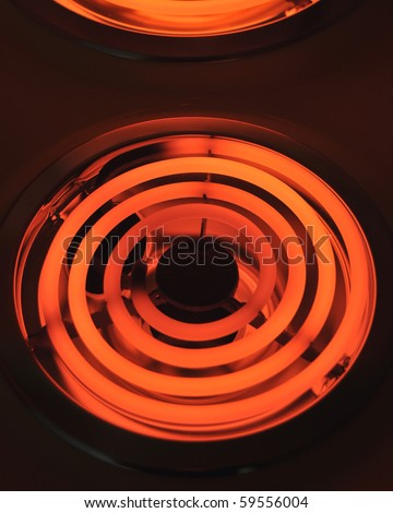 Red hot electric stove. - stock photo