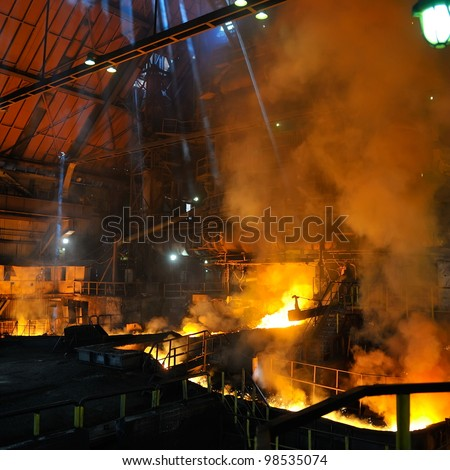 red-hot molten steel in iron and steel enterprise - stock photo