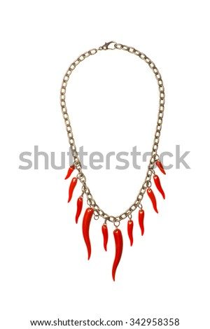 red hot peppe necklase isolated on the white - stock photo