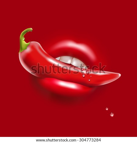 Red Hot Pepper in the Woman Sexy Mouth and Water Drops - stock photo