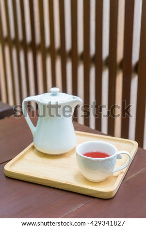 Red hot tea cup, afternoon break on table when yon drink tea you refresh healthy