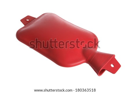 Red hot water medical pack on white background - stock photo