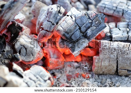 Red Hot Wood Embers Close-Up - stock photo