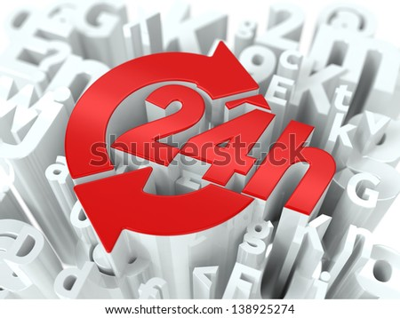 Red 24 Hours Simbol on White Alphabet Wordcloud. Service Concept. Background for Your Publication or Blog. - stock photo