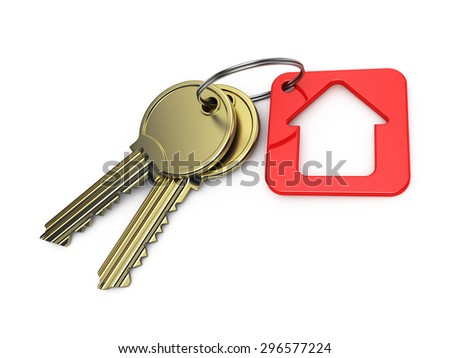 red house and gold key, on a white background, 3d render - stock photo