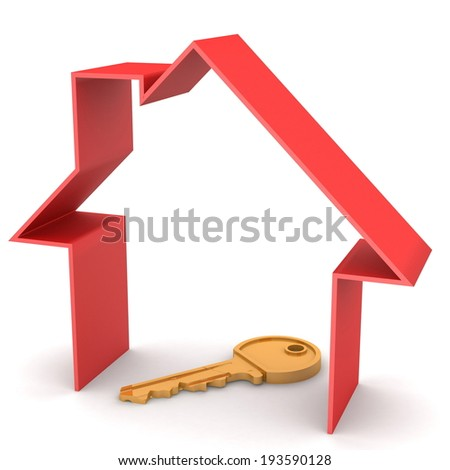 red house and key, on a white background, 3d render