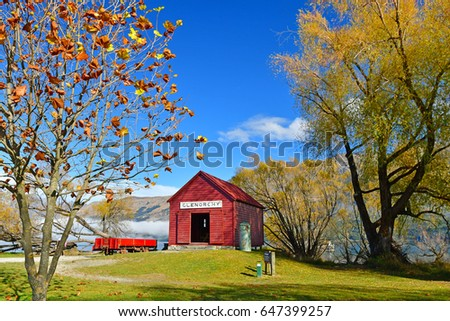 Red house of Glenorchy, South Island, New Zealand