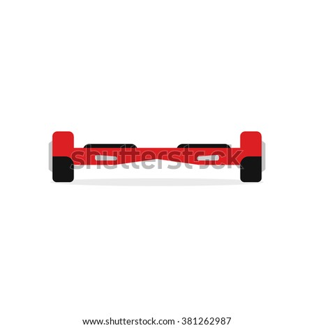 Red hoverboard illustration, hover board flat icon, two wheels scooter modern design isolated on white background image