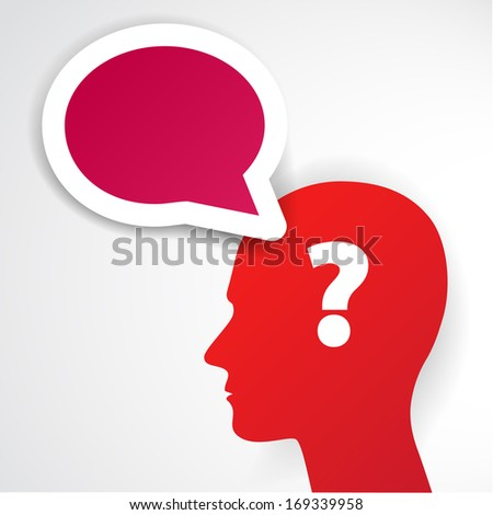 Red human head with question mark symbol and speech bubble on light background. Raster version - stock photo