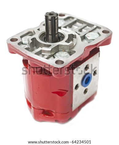 red hydraulic pump isolated