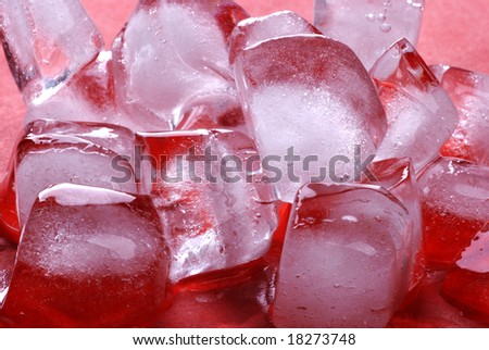 Red ice cubes - stock photo
