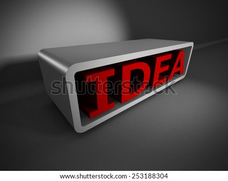red IDEA 3d word on white background. business creativity concept 3d render illustration - stock photo
