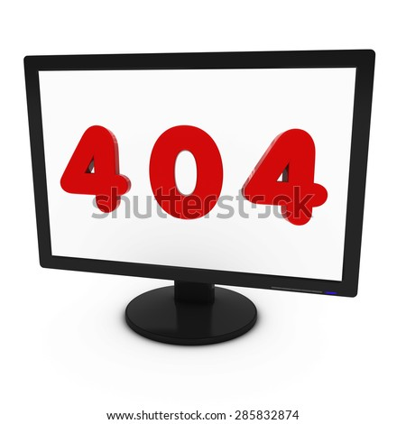Red 404 Image on Computer Screen - Isolated on White - stock photo