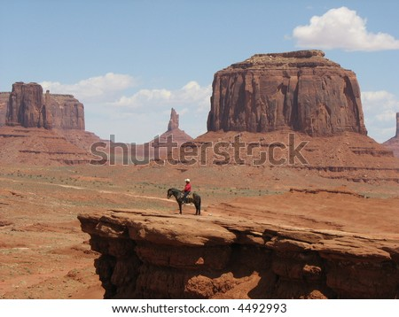 Red Indian on Horse, Monument Valley, Utah, USA