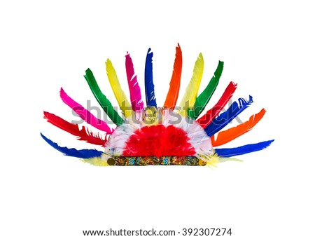 Red Indian Party Headgear on White Background. - stock photo