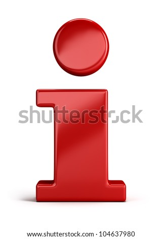 Red info icon. 3d image. Isolated white background. - stock photo
