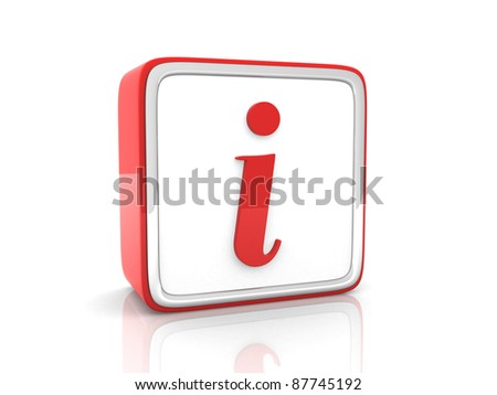 Red information icon - 3d render - stock photo