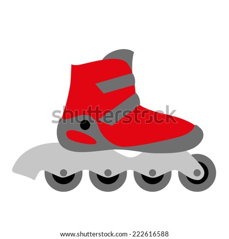 red inline roller skate boot icon with four wheels and two buckles - symbol of rollerskating, sport, recreation and motion - stock photo