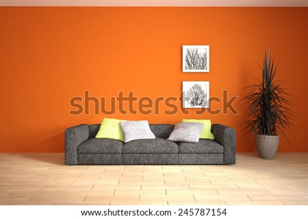 red interior concept with black furniture and frames on a wall-3D rendering - stock photo