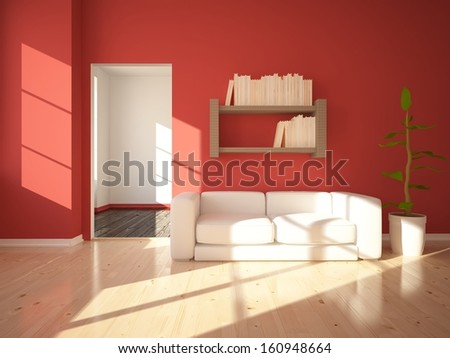 red interior with a white sofa - stock photo