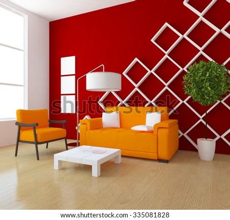 red interior with orange furniture. 3d rendering - stock photo