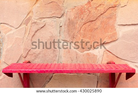 Red Iron Grunge Stairs on Stone Wall Background - stock photo