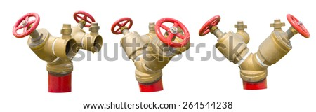 Red iron valve oblique fire hydrant with aluminum coupling for quick connection of a fire hose, Isolated on white background - stock photo