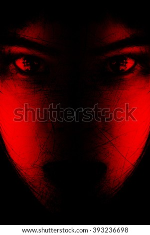 Red is scary,Portrait of scary girl staring at cameras,Background for halloween concept and movie poster project - stock photo